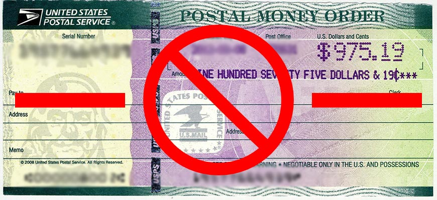 We do not accept USPS US National Money Order